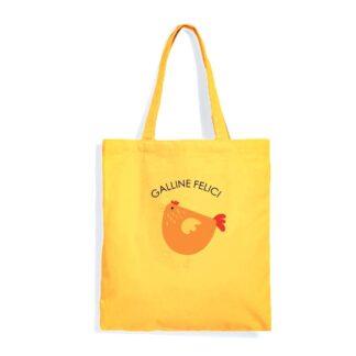 shopper gialla galline felici uova fresche da galline libere