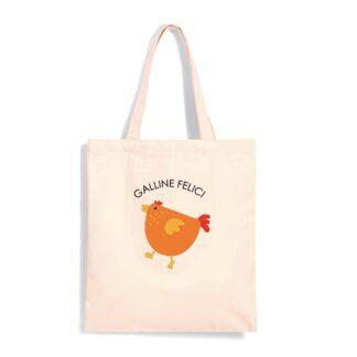 shopper bianca canapa galline felici uova fresche da galline libere